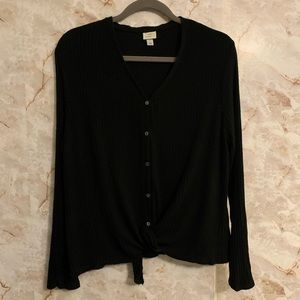 A New Day L button down tie front top shirt ribbed
